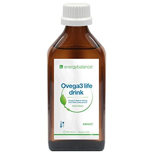 Ovega3 life drink 250ml - DHA Algenöl mit Limonengeschmack und Astaxanthin - Top Aufnahmefähigkeit - Omega-3 für Kinder - mit natürlichem Antioxidans - Schadstofffrei - Vegan - Glutenfrei