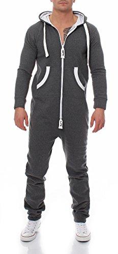 Herren Jumpsuit 9T5 Jogginganzug Trainingsanzug Einteiler Overall dunkelgrau L