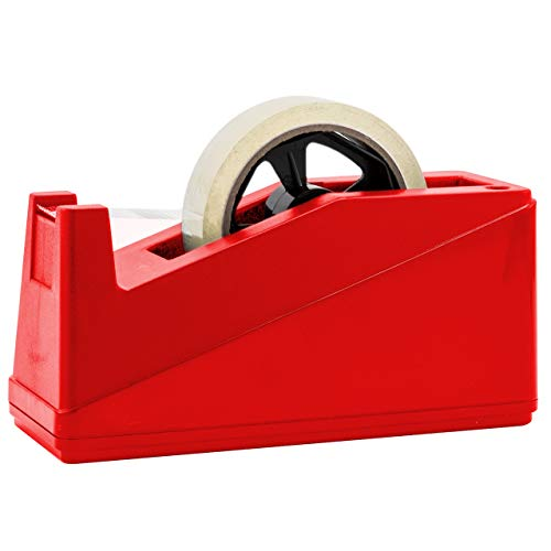 Desktop Tape Dispenser Adhesive Roll Holder (Fits 1' & 3' Core) Heavy Duty Premium by Royal Imports with Weighted Nonskid Base, Red