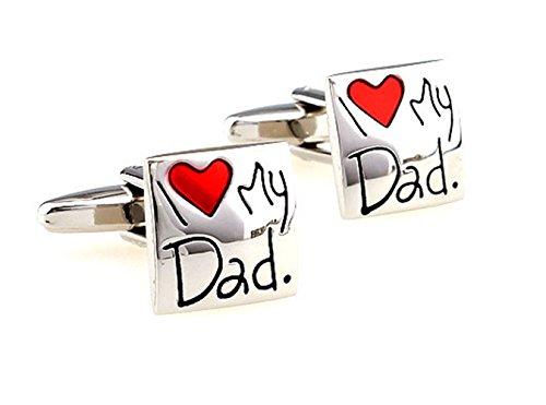 """Gudeke """"I Love My Dad """" J'aime Mon Père Journée Cadeau de L'émail Cufflinks Français Boutons de Manchette Bouton Père"""