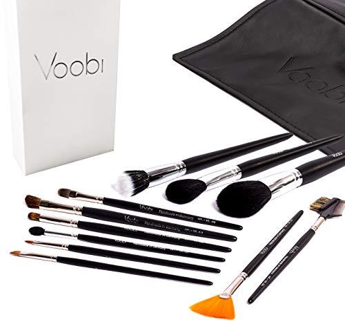 VOOBI Collection №1 Make-Up Pinsel - Schminkpinsel Set 11-tlg mit Tasche - Deutsche Handarbeit Echthaar Profiqualität