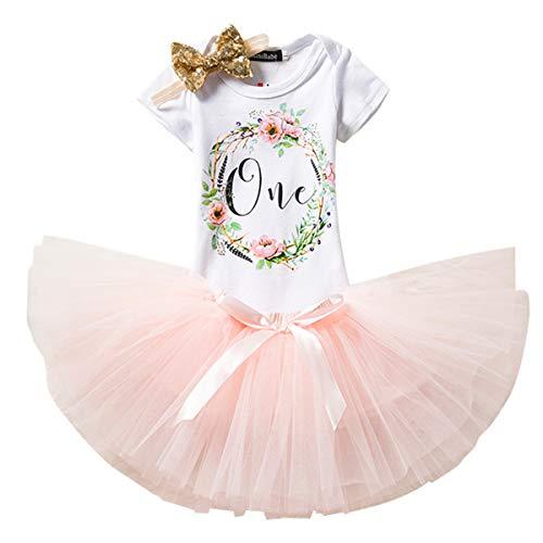 NNJXD Mädchen Newborn Crown Tutu 1. Geburtstag 3 Stück Blume Outfits Strampler + Rock + Stirnband Größe 1 Jahre Pink