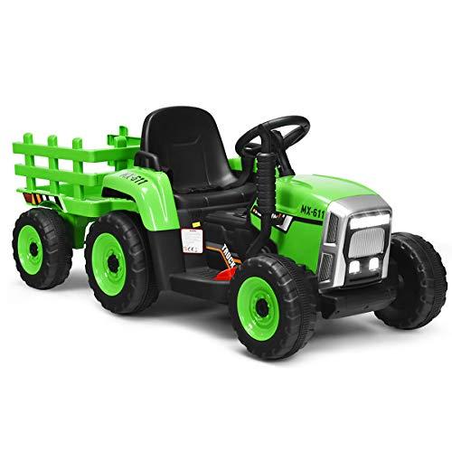 COSTWAY 12V 3-Gang Traktor mit abnehmbarem Anhänger, Kinder Aufsitztraktor mit LED Lichtern, Musik, Hupe, Bluetooth & Audio Funktionen, geeignet für Kinder ab 3 Jahren
