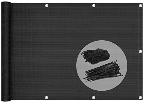 VOUNOT Pantalla Protección de Privacidad para Balcón Jardín, HDPE, Protección UV, con Cuerda y Bridas, 90x500 cm, Negro