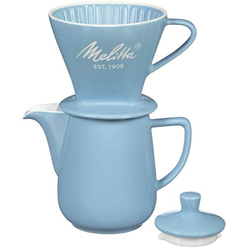 Melitta Porcelain Pour-Over Carafe Set with Cone Brewer and 20 oz. Carafe, Pastel Blue