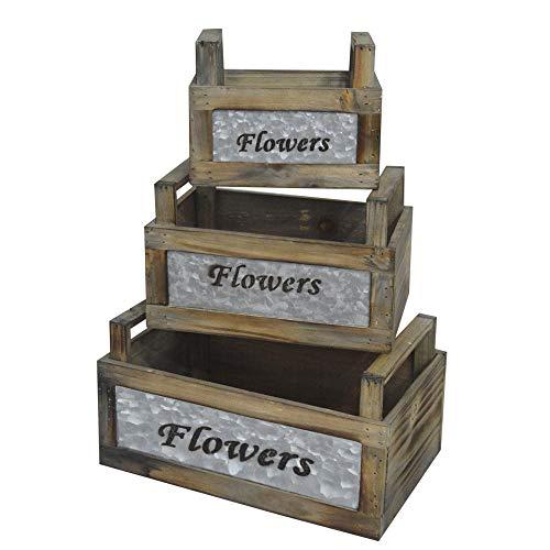 Decoratieve bloempot Flowers 3-delige set houten kist vintage decoratie opbergmogelijkheid voor de tuin.