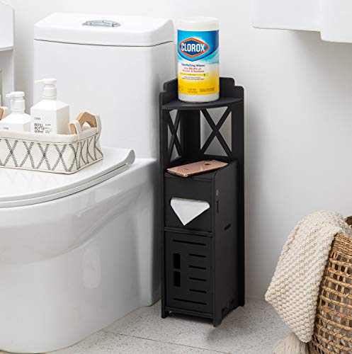 Narrow Bathroom Cabinet,Little Cute Shelf for Beroom,Corner Bathroom Storage Cabinet for Half Bath, Corner Floor cabinet for Small Spaces,Black Toilet Paper Holder Stand for Small Bathroom by TuoxinEM