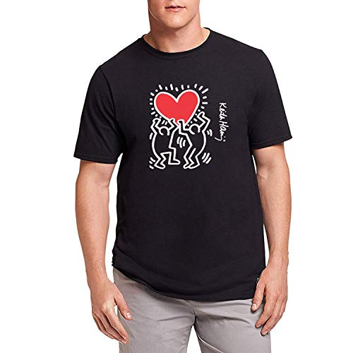 HAOSHUN Uomo Keith Haring Dancing Heart Maglietta T-Shirt Tee Top Shirt Black