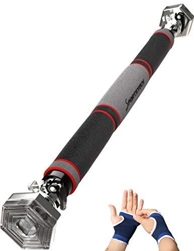 Sportstech KS200 Barra dominadas Puerta con Sistema Hexagonal Patentado. Palanca tensora de Seguridad, 6 Puntos de presión. Carga máxima 300kg. Incluye Guantes y ebook Gratis (KS200 Plata)