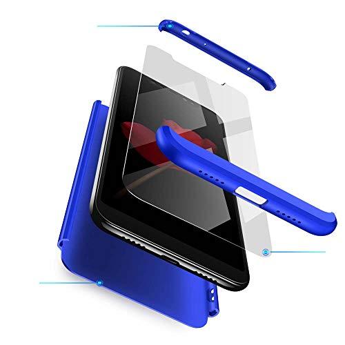 cmdkd Funda Compatible con Xiaomi Redmi Note 6 Pro,Case Bumper 3 en 1 Estructura 360 Grados Integral para Ambas Caras Hard Skin Carcasa + Cristal Templado.Azul