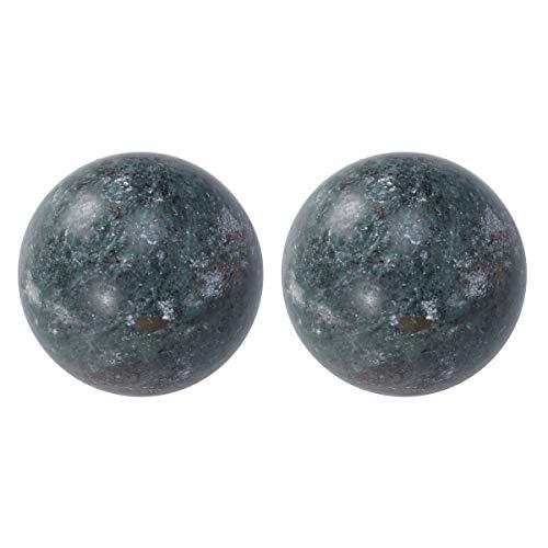 rosenice 2pezzi pietra naturale Massage Ball Meditazione Mano Fitness Esercizio Healing Ball per mano Terapia Antistress (Nero)