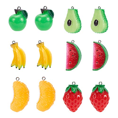 SUPERFINDINGS 36pcs Resin Pendant Enamel Resin Fruit Theme Pendants with Platinum Tone Iron Findings for Jewellery Keychain Making Pendants