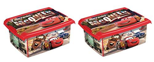 Lot de 2 boîtes à jouets Disney Cars 10 l