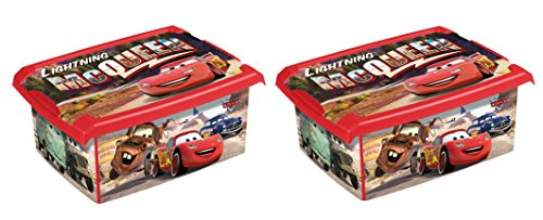 2 x boîte à jouets jouet Boîte Fashion Box Disney Cars 10 L