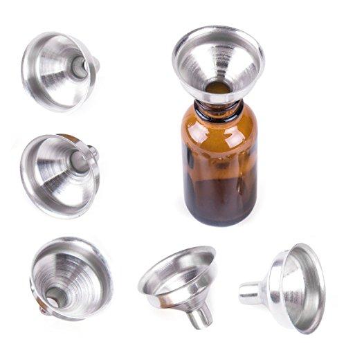 HooAMI RVS Mini Funnels voor Miniatuur Flessen, Essentiële Oliën, DIY Lipbalsems, Koken Kruiden Vloeistoffen, Zelfgemaakte Make-Up Fillers (6 Pack)