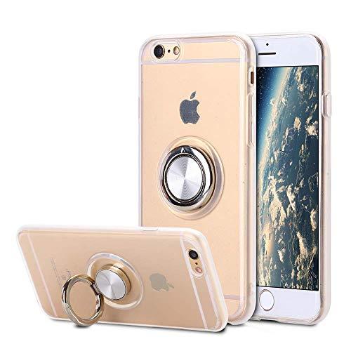 SORAKA Funda Transparente para iPhone 6 iPhone 6S con Anillo Giratorio de 360 Grados y Placa de Metal Compatible con Soporte Móvil Coche Magnético Ultradelgado Carcasa de TPU Suave