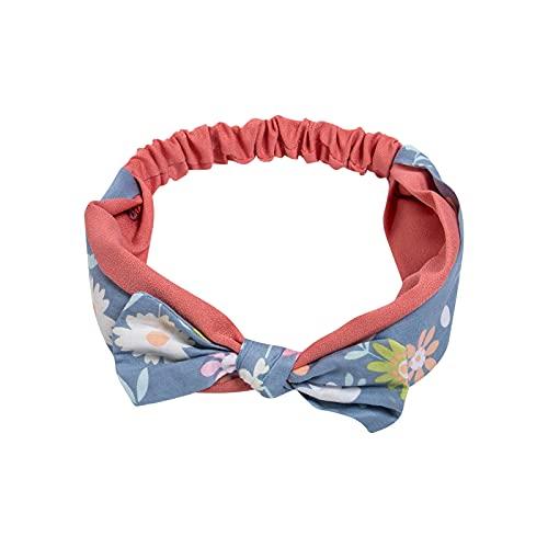 BEAUTYOO Diadema para bebés y niños, diseño lindo impreso, lazo, banda de pelo de alta elasticidad, para niñas, lavado de cara aplicando, Flor azul., Talla única