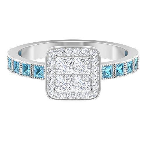 Anillo de diamante de corte princesa de 2,8 x 2,8 mm, 2 mm creado en laboratorio aguamarina, 14K Oro blanco, aguamarina creada por laboratorio, Size:EU 55