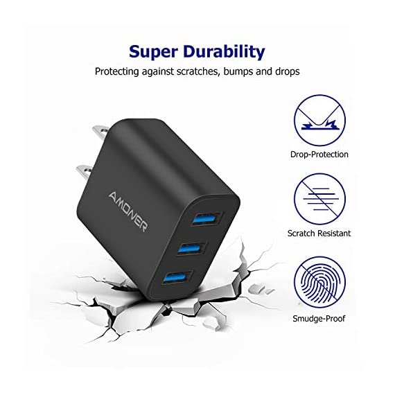 Wall Charger, Amoner Upgraded 2Pack 15W 3-Port USB Plug Cube Portable Wall Charger Plug for iPhone Xs/XS Max/XR/X/8/7/6/Plus, iPad Pro/Air 2/Mini 2, Galaxy9/8/7, Note9/8, LG, Nexus and More 6 Upgraded 15W 3-Port Wall Charger - The upgraded wall charger makes the power output more stable. CE/FCC certificated, built-in safeguards protect your devices against over-current, over voltage and short-circuit Upgraded Charging Technology - With Smart IC technology, the wall charger will automatically detect and provide the fastest possible charging speed up to 2A one port or 3A total Wide Compatibility - This Wall Charger can be used as iPhone wall charger, compatible with iPhone Xs,Xs Max, Xr, X, 8, 7, 6 Plus, Samsung Galaxy S10/S9/S8/Plus/S7/Note 8/9/7, Moto Z2/Z Force, LG V20/V30/G7/G6/G5, Lumia 950 & XL, Google Pixel 3/2 & XL; Kindles and more
