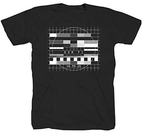 DFF DDR1 analog DDR Fernsehen Fernsehfunk Testbild Ossi schwarz T-Shirt (4XL)
