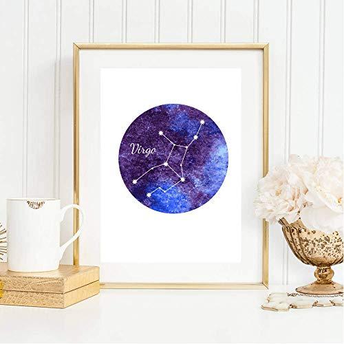 Din A4 Kunstdruck ohne Rahmen - Sternzeichen Horoskop Virgo Jungfrau Astrologie Sterne Sternhimmel Sternbild Druck Poster Deko Bild
