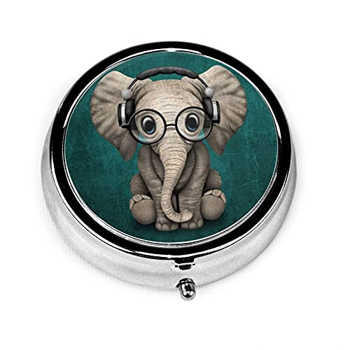 Cute Baby Elephant Pill Box for Purse Small Travel Round Stainless Metal Pill Case Medicine Container