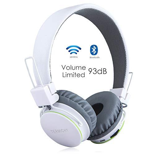 Termichy Bluetooth Kopfhörer Kinder mit 93dB Lautstärkebegrenzung, Faltbare Tragbare Leicht kopfhoerer Kabellos mit Audio Kabel On-Ear Drahtloser Kopfhörer Musik Shareport, Eingebautem Mikrofon (Weiß)
