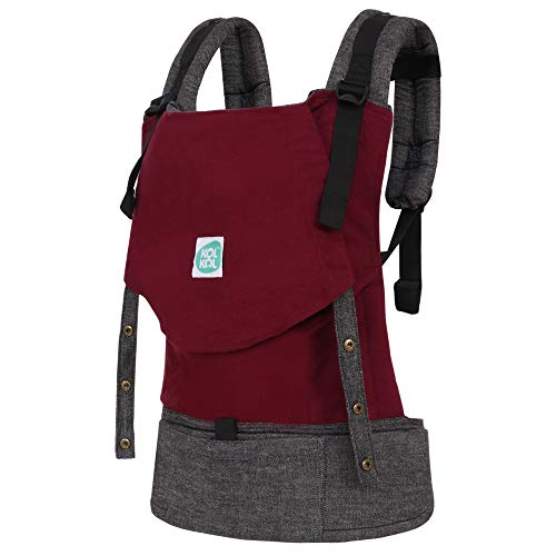 Kol Kol Baby Carrier Bag, 100% Cotton, Hand Woven, Ergonomic Baby Carry Bag with Hood & Storage Pocket, 6 Months to 4 Years, Maroon, Unisex