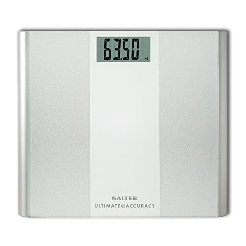 Salter Bàscula personal: la precisión máxima pesa 50 g para un control de peso preciso, capacidad de 180 KG, blanco
