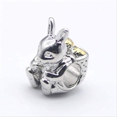 HUASE Accesorios Aleación Bead Tetera Tiger Rabbit Mouse Charm Fit Pandora Pulsera Collar DIYA785