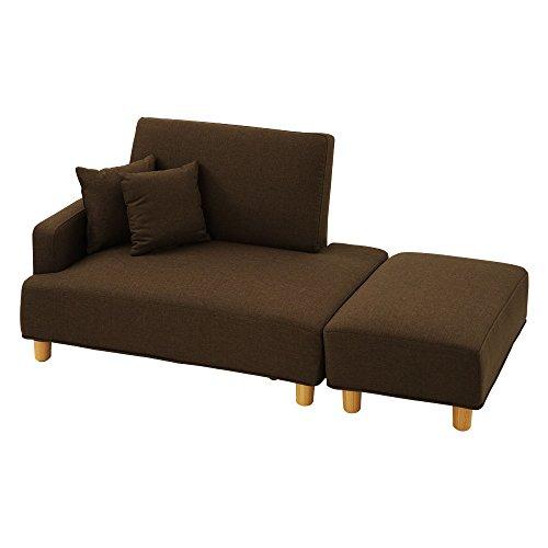 ぼん家具 二人掛けソファー コンパクト ローソファ コーナー カウチ 分割 ユニット ポケットコイル ブラウン〔右肘〕