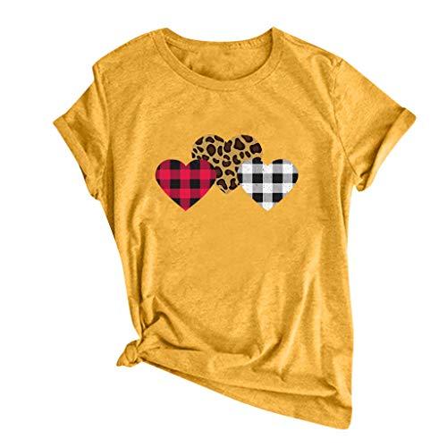 Whyeasy Básico Verano Cuello Redondo Suelta T-Shirt Camiseta de Manga Corta para Mujer, Tops con Estampado de Amor Dibujos Animados, Regalos de San Valentín