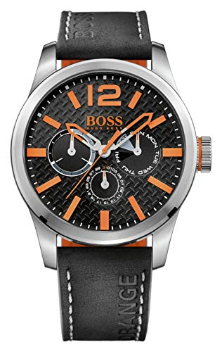 Hugo Boss Orange Paris Herren-Armbanduhr Quartz mit schwarzem Leder Armband 1513228