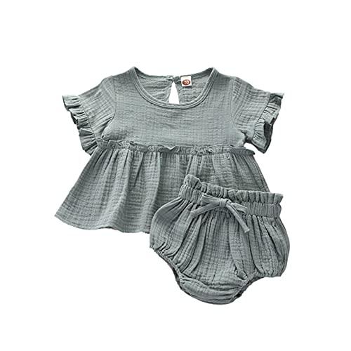 Hatoys Baby Girl Pleated Dress, Back Button O Neck Short Sleeve Dress Strap Waist Shorts, Summer Toddler Wear