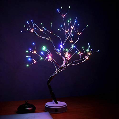 AMARS 20 Inch Bonsai Tree Night Lights Bedroom Living Room 108 LED Table Desk Lamp Decoration, Colored, Ideal as Home Gift, Battery /USB Powered, Touch Switch, DIY Lighted Branches