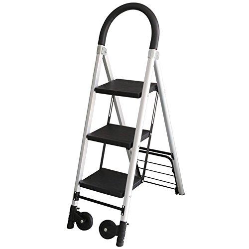 CAIJUN Pieghevole Sgabello Scaletta Multifunktion Dual-Use 3/4 Schritte rutschfest Breit Mit Rollen Armlehne  Stuhl Aluminiumlegierung Klappstufen (größe : H78cm)