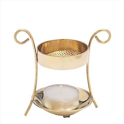 NKlaus Weihrauchbrenner Weihrauchständer mit Teelicht Messing Handarbeit Geschenk 2939