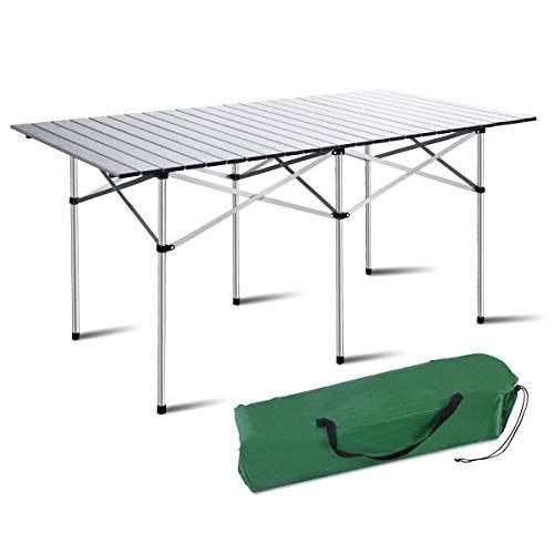 De aluminio que acampa plegable de mesa, rueda for arriba la mesa de picnic portátil con bolsa de transporte, un gran escritorio de interior al aire libre for el campo, senderismo, playa, barbacoa, co