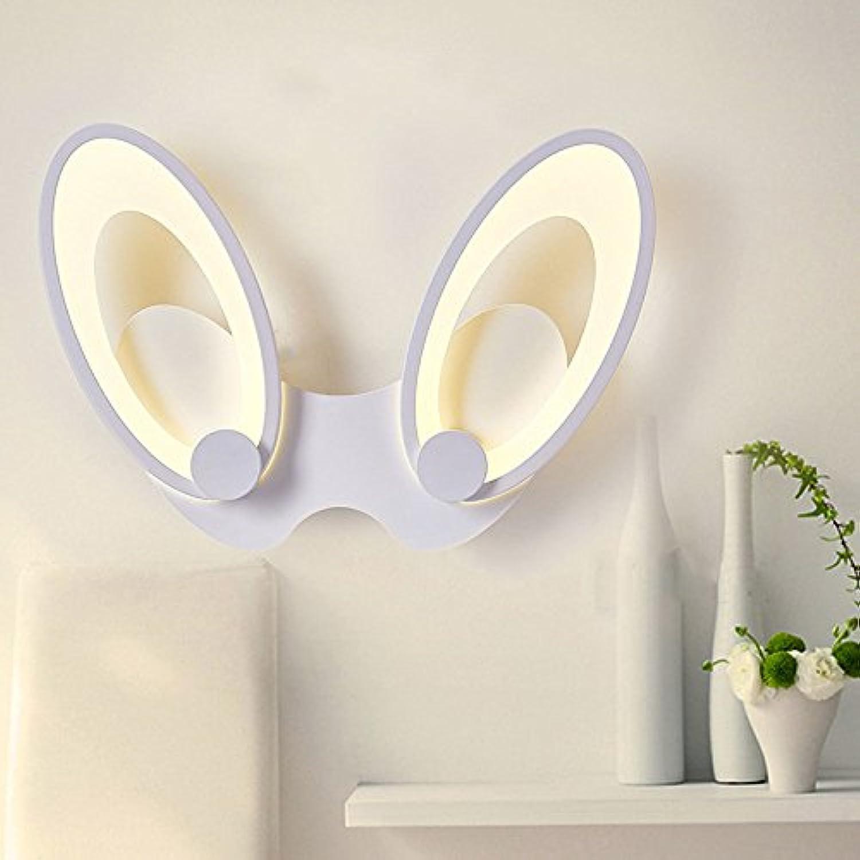 Wandlampen Wandlampe Kaninchen Ohr LED Modernes Einfaches Schmiedeeisen Acrylbettseiten Gang Schlafzimmer Korridor Treppe Wandleuchte Wandbeleuchtung,DoubleHead18W-TrichromaticLight
