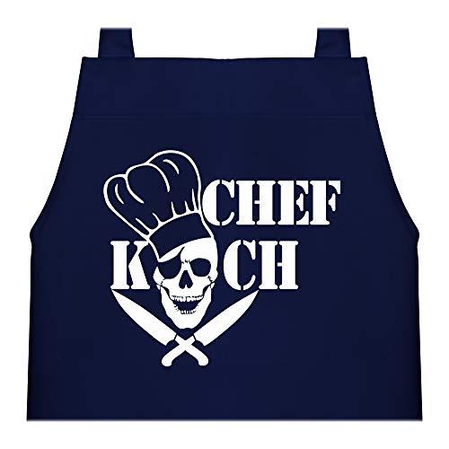 Shirtracer Kinderschürze mit Motiv - Chefkoch Totenkopf Skull - 60 cm x 50 cm (H x B) - Navy Blau - kinderkochschürze - X978 - Kochschürze und Schürze für Kinder