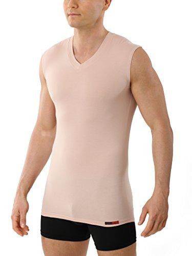 Albert Kreuz V-Unterhemd unsichtbar Business Herrenunterhemd aus Stretch-Baumwolle ohne Arm Hautfarbe Nude 6/L