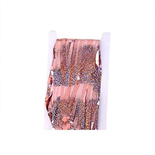 Vacally Cortinas metálicas de oropel / Cortina de aluminio / Telón de fondo Cortinas con flecos para la fiesta de bodas de cumpleaños, Decoraciones de fotomatón de bricolaje 1x2m / 1x3m / 1x4m, Foto de fondo de telón de fondo de ventana de puerta (oro rosa)