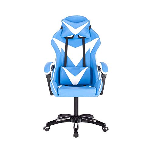 ZYLZL Chair Computer Chair Office Reclining Ergonomic Racing Office Chair Height Adjustable High Back Armchair With Massage Function Rotatable Game Chair,Blue White