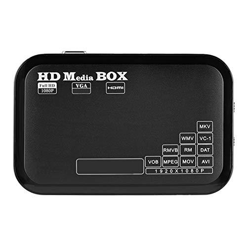 1080P Media Player-Box, Full HD Mini-Box Unterstützung für Video-Media-Player MKV, AVI, TS/TP, M2TS, RM/RMVB, MOV, VOB, FLV, WMV 110-240V(EU Plug)