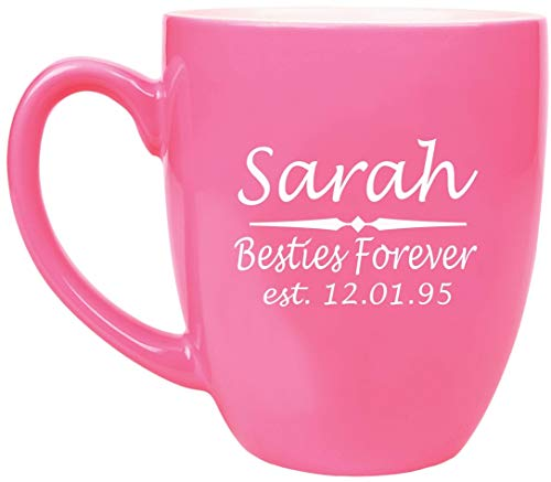 ANY TEXT Custom Engraved Coffee Mug, Laser Engraved Personalized Ceramic Coffee Cup with Color Choices - BM01