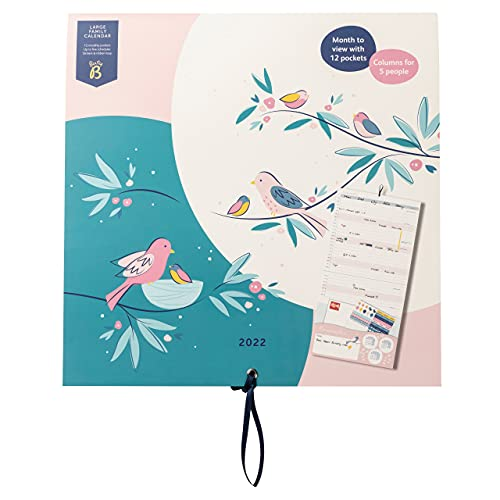Busy B Large Family Monthly Calendar January to December 2022. Birds Large Family Calendar 2022 with 6 Column Layout for Family schedules & Birthdays, Monthly Pockets & Stickers