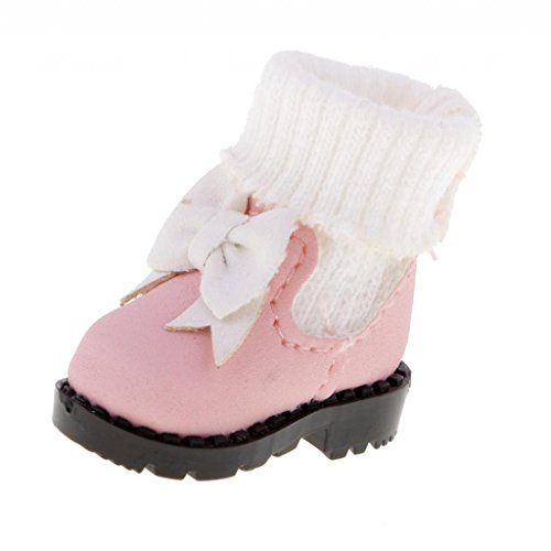 MonkeyJack 1/6 Fashion Dolls Pink Bow Boots Shoes for 12'' Takara Neo Blythe Doll Licca AZONE