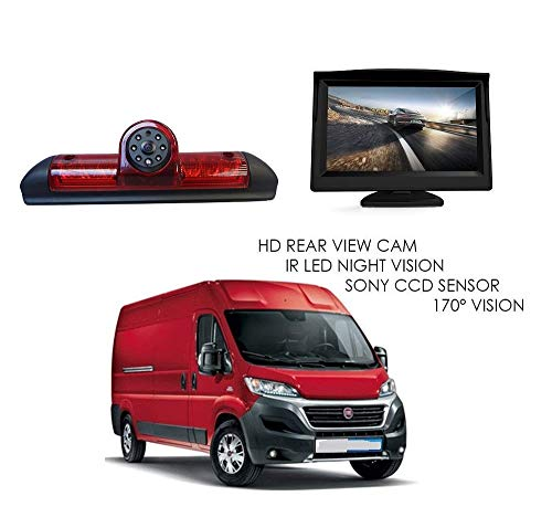 "Rückfahrkamera Transporter Kamera an 3. Bremsleuchte Dachkante Einparkhilfe (NTSC) für Peugeot Boxer FIAT Ducato Citroen Jumper 2006-2015 +4.3\"" Zoll DVD Monitor TFT Bildschirm LKW KFZ LCD Display"