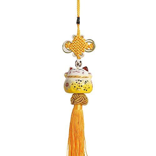 ButerDem Maneki Neko Feng Shui Pendentif traditionell och porslin japansk form och Chat Porte-Bonheur Cadeau original Small gyllene