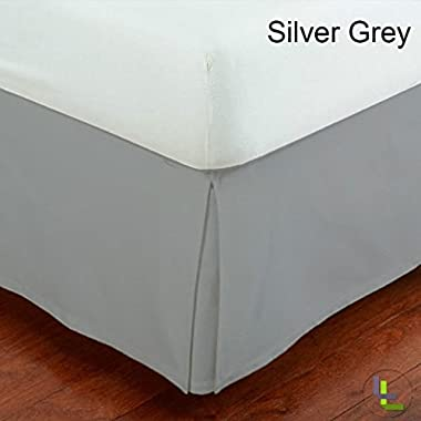Fancy Collection Easy Care Tailored Microfiber 14-inch Bed Skirt Solid (Queen, Light Grey)